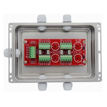 4-way load cell summing box signal trimming on load cell gearbox, load cell assembly, load cell j-box, load cell interface pinout, pinout diagrams, load cell ohms,